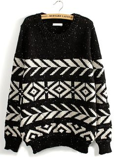 Black Geometric Print Long Sleeve Wool Blend Sweater
