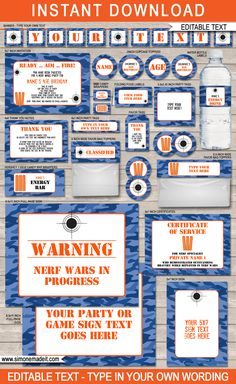 Nerf Party Invitations Template Free Best Of Nerf Birthday Party Printables Invitations & Decorations Invitation Fete, Birthday Invitation Templates, Birthday Party Invitations, Invitation Ideas, Shower Invitation, Invitation Wording, Wedding Invitations, Nerf Birthday Party, Birthday Party Decorations
