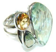 Delicate Green Amethyst Sterling Silver ring s. 7 - Adjustable