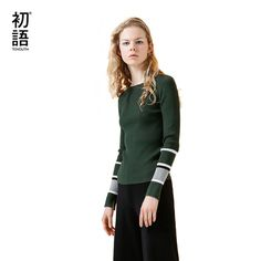 Toyouth Knitted Sweaters 2017 Autumn Women Striped Patchwork O-Neck Skinny Long Sleeve Pullover Sweater #Toyouth #sweaters #women_clothing #stylish_sweater #style #fashion