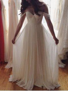 Off shoulder beach wedding gowns, beach wedding dress , chiffon prom dress, Long prom dress, Custom prom dresses, 16032