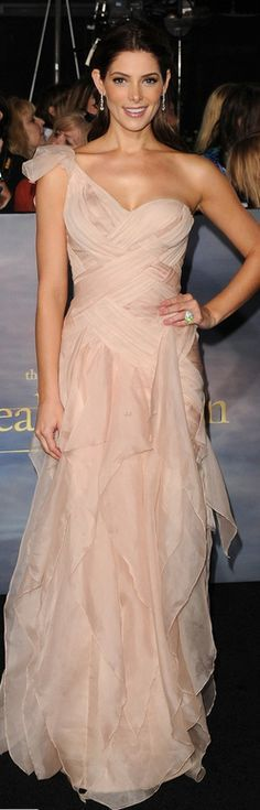 Ashley Greene in rose pink evening dress by Donna Karan,  Shoes – Giuseppe Zanotti, Jewelry – Bulgari