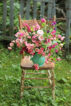 Lovely #shabby #chippy #pink #chair topped with a #jug filled with blooms