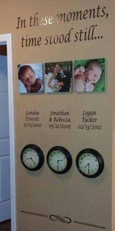 Tolle Idee für den Eingangsbereich oder das Wohnzimmer. Wandspruch: In diesem Moment stand die Zeit still! Mit den Fotos der Kinder, Namen, Datum und der Uhrzeit der Geburt und der Hochzeit nicht zu vergessen