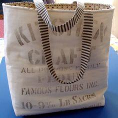 flour sack pillows | Vintage Flour Sack and Ticking Bag