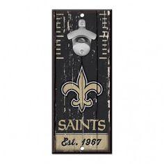 New Orleans Saints Bottle Opener Wooden Sign