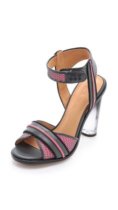 L.a.m.b. Carter Sandals with Lucite Heel in Multicolor (grey) | Lyst