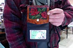 Passport Cover / Women / Hand Carved and Tooled / Leather / Red Roses / Custom / Zipper  / Woman /  Passport Case / Ladies / Flowers / Girl