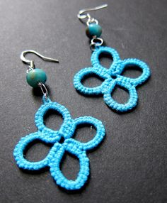 Tatted Earrings  Blue Turquoise Beaded Clover by spritzyfitzy, $20.00