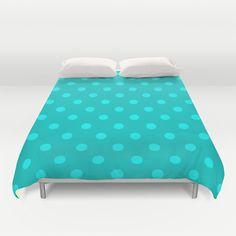 Misty Teal Polka Dot Duvet Cover by KCavender Designs - $99.00 #Duvet #Cover #Bedding #Bedroom #Decor By #KCavenderDesigns