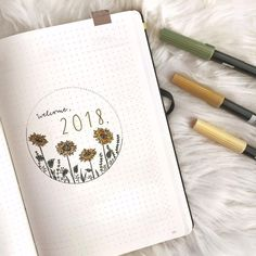 Bullet journal yearly cover page, sunflower drawing. | @crinspire