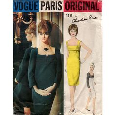Stunning Vintage 1960s Christian Dior Vogue Paris Original 1311 Sheath Dress Sewing Pattern - Size 14 - Bust 36