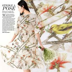 Peach spring breeze wide windbreaker silk linen fabrics digital printing silk linen cloth dress free shipping #Affiliate