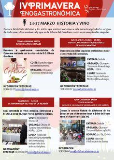 Eventos correspondientes a la #IVprimaveraenoturistica http://www.rutadelvinoriberadelguadiana.com/eventos/agenda