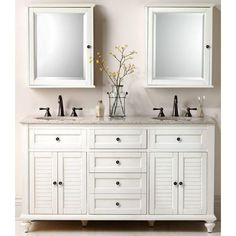 The Hamilton Double Vanity from Home Decorators Collection offers classic cottage charm and plenty of bathroom storage space. Includes a beautiful, champagne granite top with two centerset white sink basins.