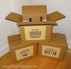 Party decoration - liquor crates made from cardboard boxes