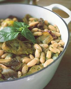 White Bean and Vegetable Stew | Martha Stewart Recipes   uses baby artichokes, radicchio, and basil puree