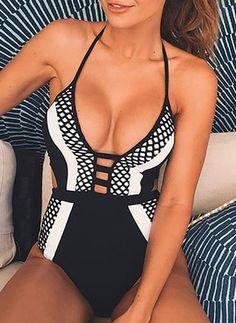 Polyester Halter Color Block One-piece Swimwear