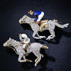 Pair of Vintage Equestrian Brooches platinum gold diamond