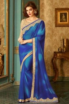 Blue Indian Designer Festive Wear Stylish Georgette Saree  #BLUE #GEORGETTE #PARTYWEAR #ETHNIC #INDIANSAREE 3BOLLYWOOD #TFH #GEBASTORE