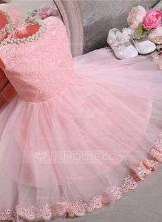 Ball Gown Scoop Neck Knee-length Beading Bow(s) Tulle Lace Sleeveless Flower Girl Dress Flower Girl Dress