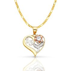 Script with Diamond-cut Heart and Beaded 15 Birthday Charm Pendant 14k Tri-color Gold Mis 15 Anos Years