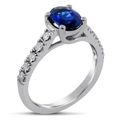 Oval Cut Four Prong Sapphire & Diamonds Engagement Ring SA600 #ovalsapphire #sapphirering #sapphirediamondring