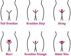 Super Bild mit den verschiedenen Intimstyles. ...Natur, American und ein paar weitere fehlen zwar. Mehr dazu hier: https://www.bodyzone.ch/brazilian-bikini-holywood-landingstripe-waxing