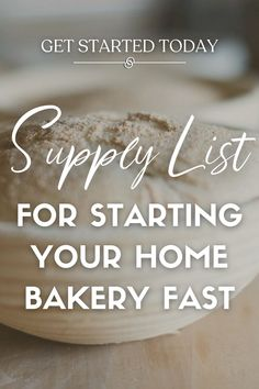 If you're starting an at home bakery business then check out this supply list to get your business open fast! This list has the tools and products to help organize and design your kitchen workspace, plan how to stock your supplies, and give you ideas for how you can layout your own kitchen. Get tips from an experienced cottage bakery who has found a way to make money while being at home. Visit AlchemyBread.com for design inspiration, how to DIY opening your own business, even lessons on baking! Home Bakery Business, Baking Business, Baking Pans, Bread Baking, Opening Your Own Business, Baking For Beginners, How To Store Bread, Supply List, Home Baking