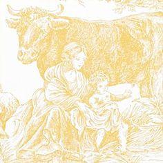 Thibaut Toile Resource Vol II - Chateau Du Loir Toile - Wallpaper - Gold on White
