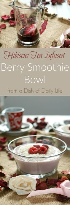 Start your day off right with this healthy, dairy free berry smoothie bowl recipe. It's naturally sweet, packed with protein and infused with hibiscus tea. Perfect for breakfast, as a snack, or even a Valentine's Day treat! Vegetarian and gluten free.