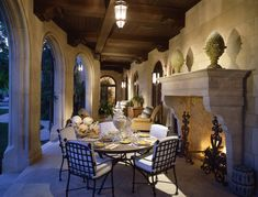 Beverly Park Mansion of Actor Eddie Murphy in Beverly Hills - dining outside