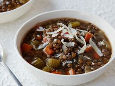 Lentil Vegetable Soup recipe from Ina Garten via Food Network. Obviously use vegetable stock to make it vegetarian. Lentil Vegetable Soup, Lentil Soup Recipes, Vegetable Soup Recipes, Vegetarian Recipes, Cooking Recipes, Healthy Recipes, Vegetable Stock, Healthy Meals, Lentil Stew