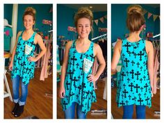 Crazy for Crosses Tunic (turquoise)