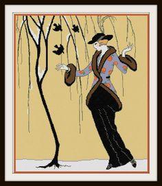 La Belle Aux Moineaux (Beauty and the Sparrows) George Barbier Fashion Illustration Adaptation Cross Stitch Pattern PDF