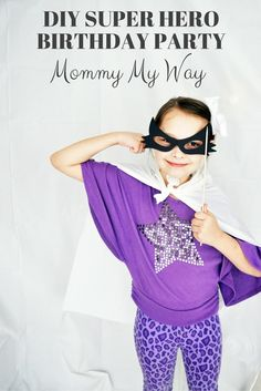 DIY Super Hero Birthday Party - Super hero Photo booth, super hero cityscape backdrop, super hero capes, super hero punch for a prize game board. Super Hero Party Ideas