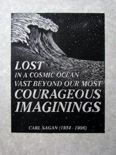 Items Similar To COSMIC OCEAN   Woodcut   Original Relief Print   Carl Sagan    Quote   Stars On Etsy