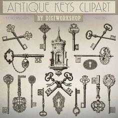 Antique Keys Clip Art Antique Keys Clipart por DigiWorkshop