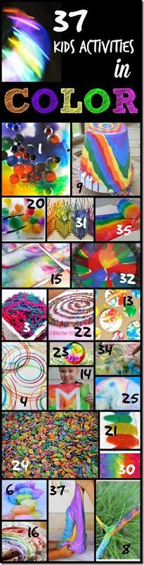 37 Kids Activities in COLOR - so many beautiful rainbow crafts for kids and kids activities full of color! LOVE THIS LIST!!! preschool, kindergarten, toddler, 1st grade, 2nd grade, 3rd grade