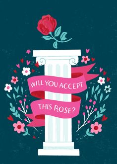 Will You Accept this Rose? Illustration for a print-on-demand Valentine's Day card by @smalltalkstudio (Alyssa Nassner)