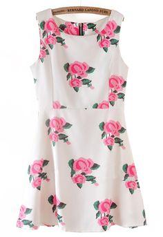 White Sleeveless Back Zipper Rose Print Dress - Sheinside.com