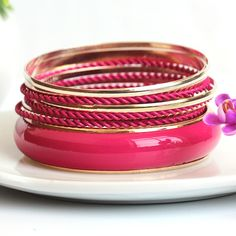 Fresh and Gorgeous Multilayer Temperament Cerise Bracelets for Girls