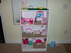 DIY Barbie house using bookshelf