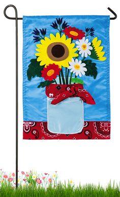 Summer Bouquet Garden Flag | Decorative applique summer flag from HouseFlags.com