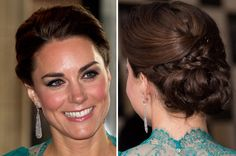 I wish I had long enough hair to do a cute braided updo like Kate Middleton's!