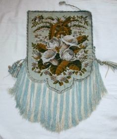 VICTORIAN TAPESTRY AND BEAD WORK BANNER/FIRE SCREEN. ROSES, ARUM LILIES