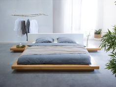 Designer Wooden Bed Japan 160 / 180 x 200 cm light brown / beech with slatted frame japanese futon bed Bed Frame Design, Bedroom Bed Design, Home Bedroom, Modern Bedroom, Futon Bedroom, Furniture Bed Design, Wooden Furniture Bedroom, Bedroom Ideas, King Platform Bed Frame