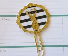 Gold frame-Deer plannerclip/paperclip/bookmark/journal marker by PaperMyLife on Etsy