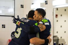 Awwwww Seahawks Russell Wilson and Earl Thomas celebrating yet another victory!! There will be more this Sunday!! #SuperBowlRePete