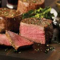 Filet Mignons  Shop now: http://www.omahasteaks.com/product/Filet-Mignons-4-5-oz-01135?ITMSUF=WZC?SRC=RZ0637  Cut from the heart of the tenderloin, using the finest grain-fed beef, Omaha Steaks Filet Mignon is aged to peak flavor and tenderness, vacuum wrapped and flash frozen to lock in freshness.